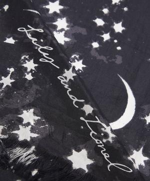 Moon and Star Black Silk Scarf