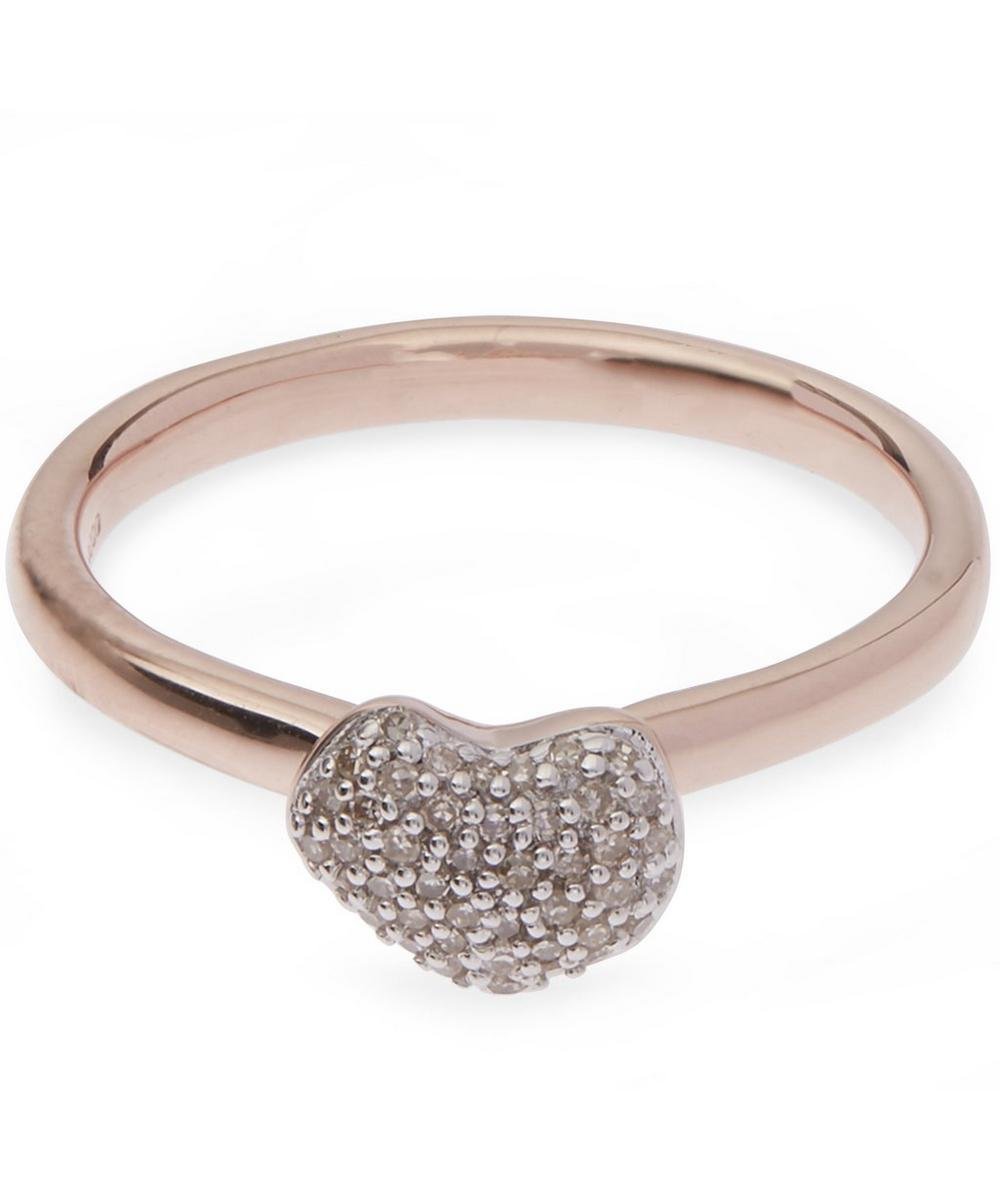 Nura 18Ct Rose-Gold Vermeil And Diamond Ring, Rose Gold-Plate