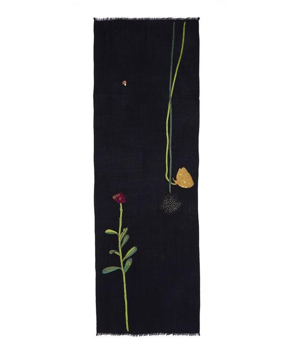 Embroidered Flowers Wool Scarf