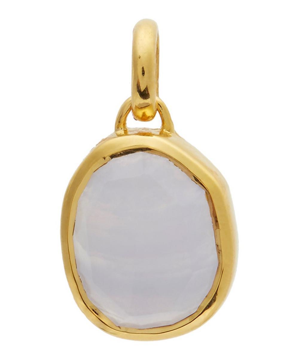 Gold-Plated Blue Lace Agate Siren Medium Bezel Pendant