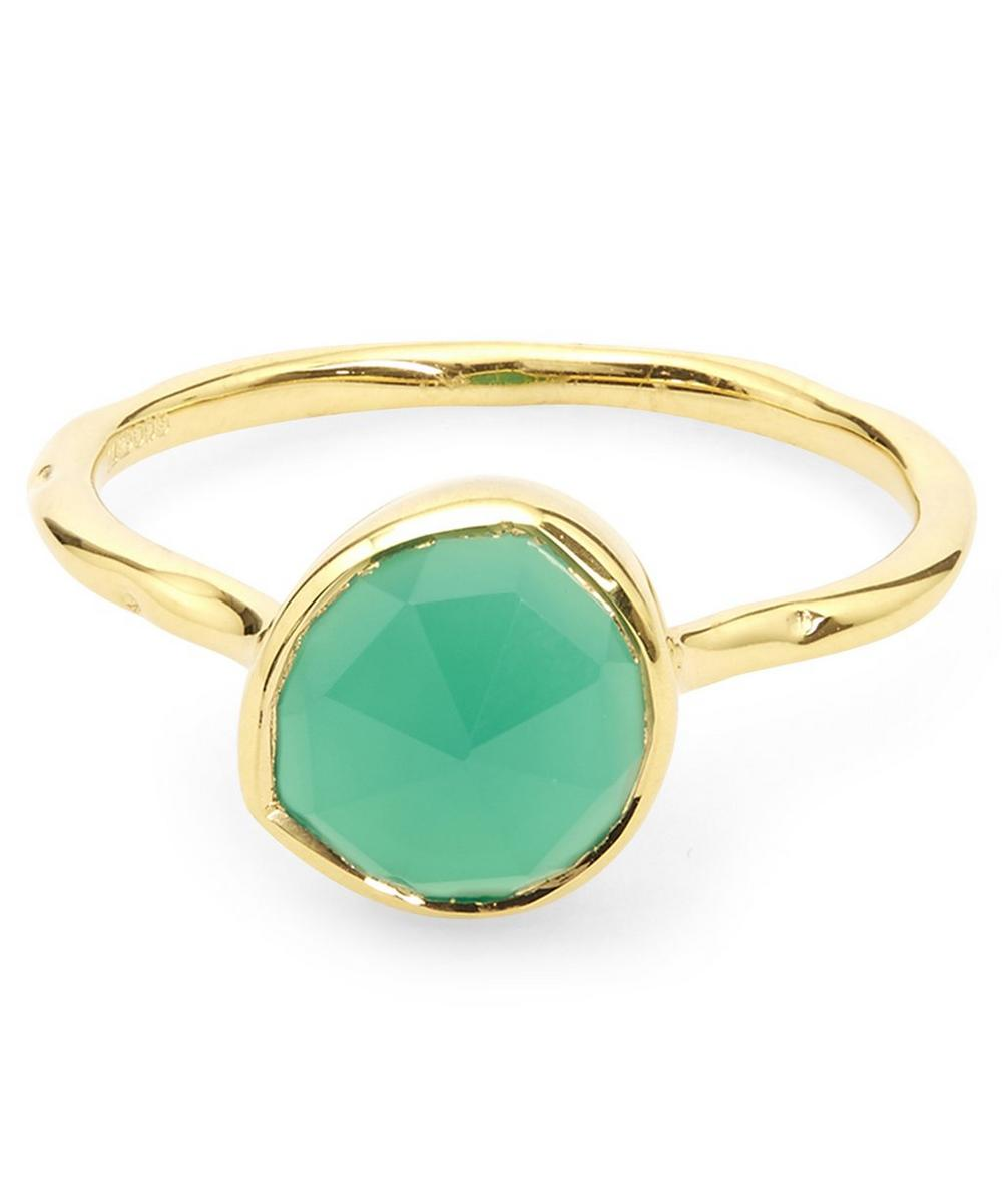Gold-Plated Green Onyx Siren Stacking Ring