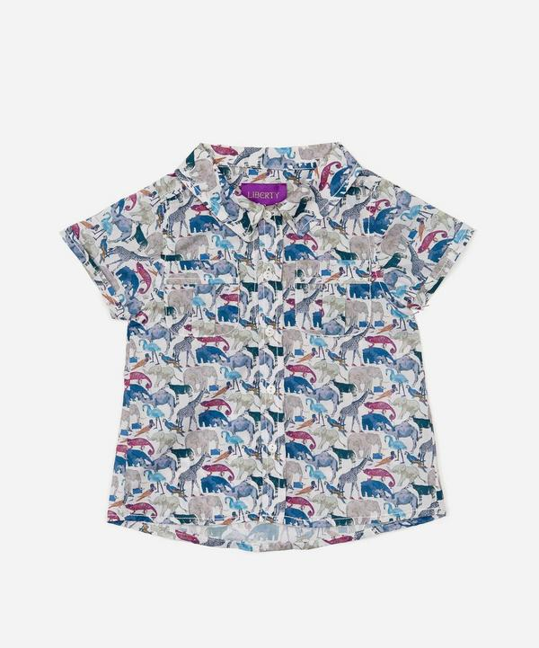 Queue For The Zoo Short Sleeve Tana Lawn Cotton Shirt 3-24 Months