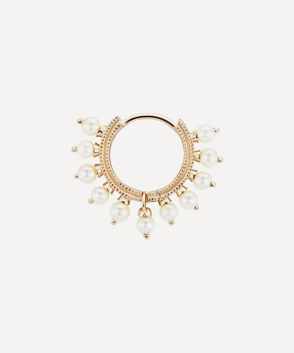 """5/16"""" Pearl Coronet Hoop Earring"""