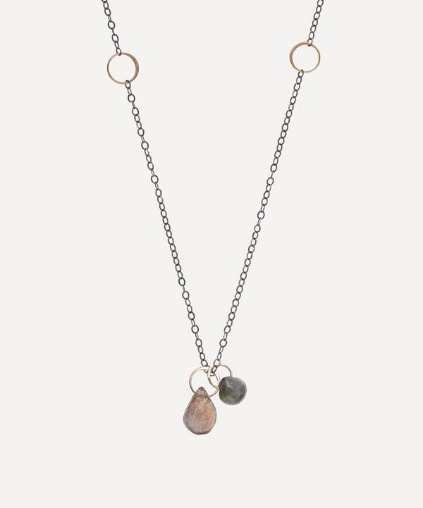 Melissa Joy Manning - Gold and Silver Cat's Eye Opal and Labradorite Drop Pendant Necklace