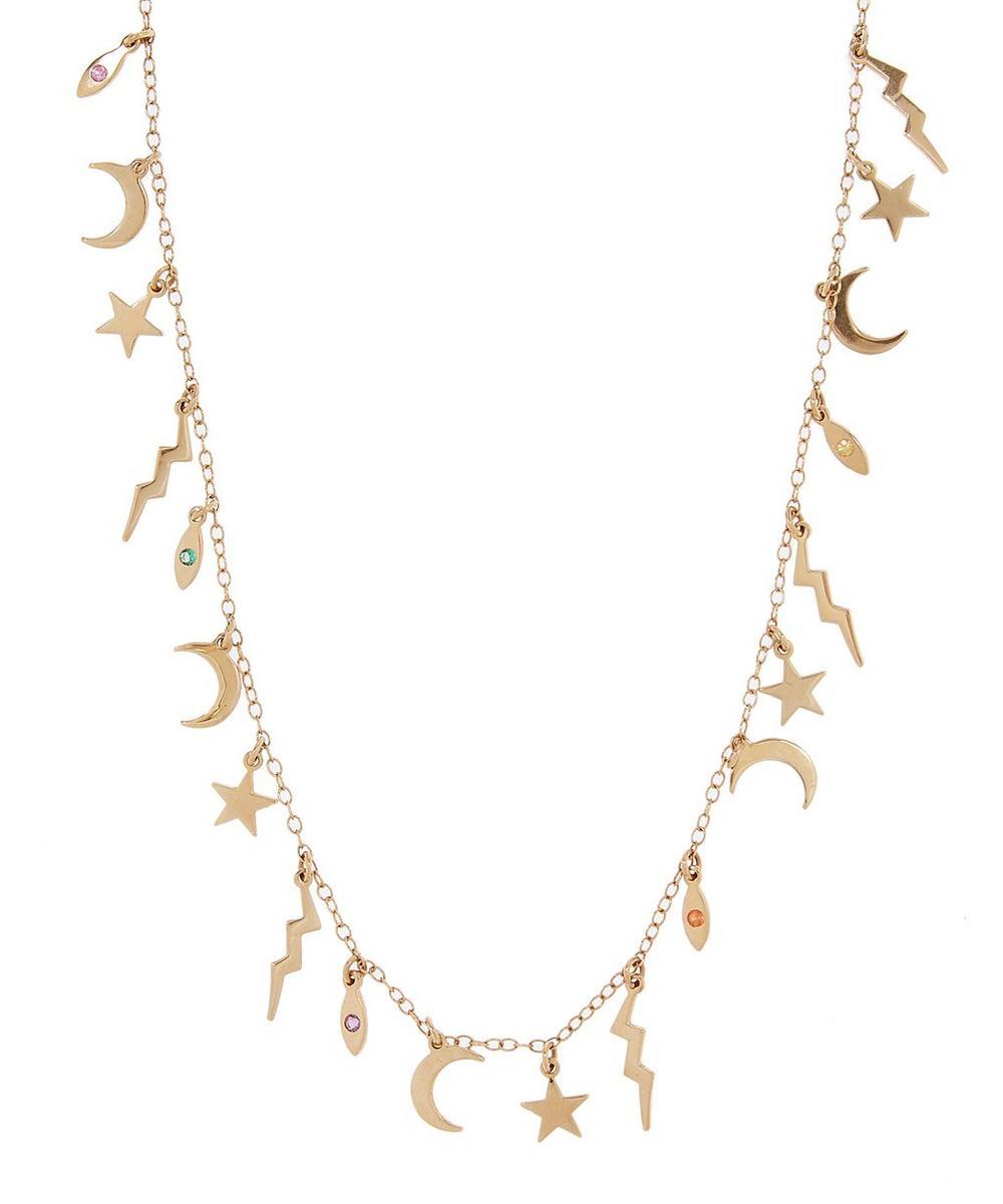 Gold Element Sapphire Necklace