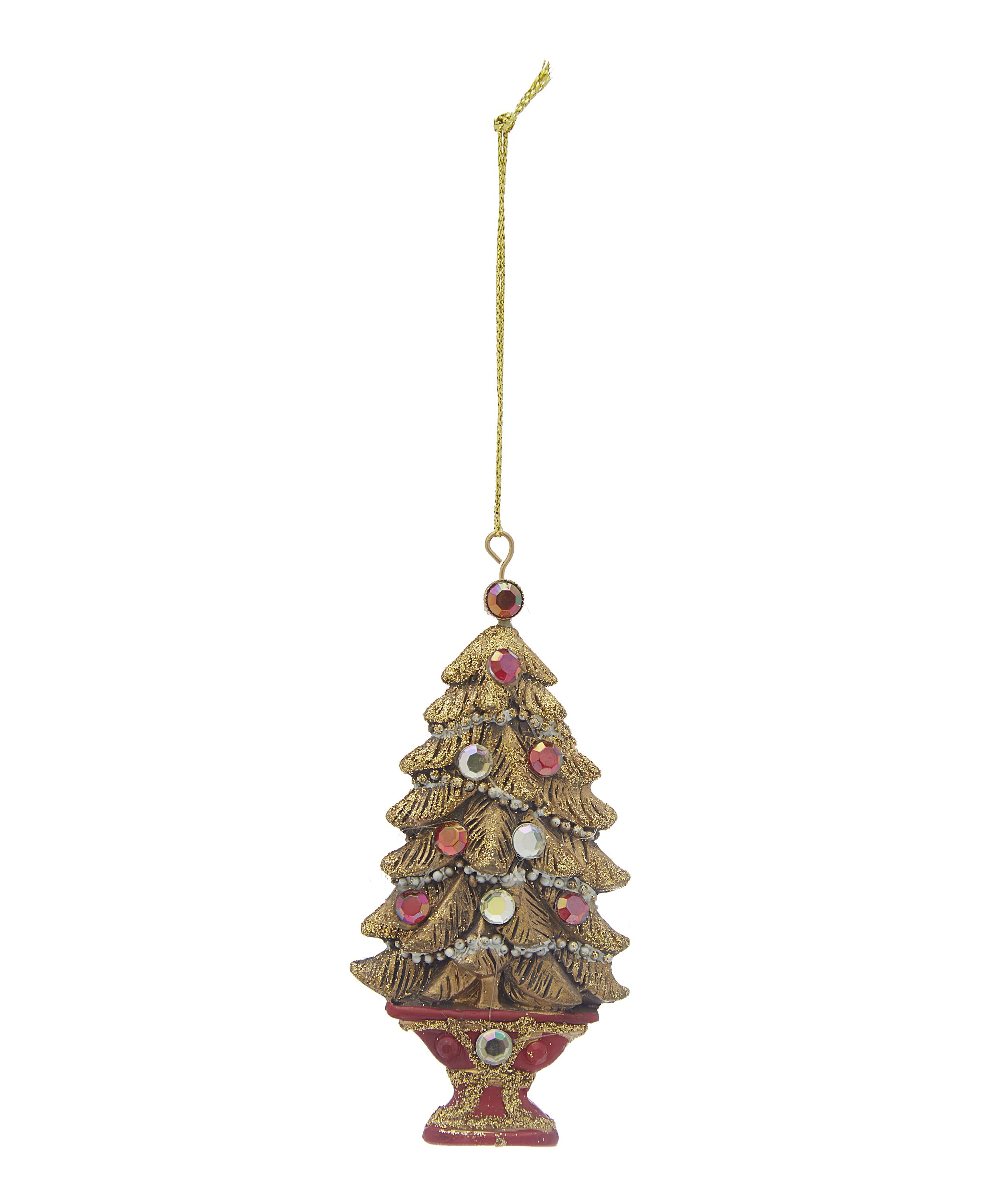 Jewelled Christmas Tree In Pot Ornament
