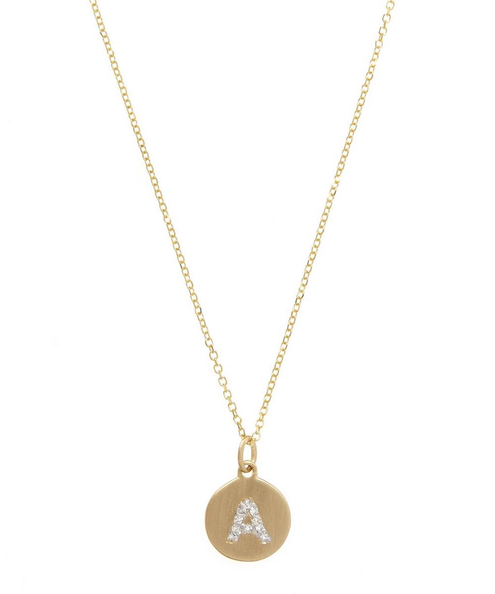 Gold And Diamond Letter A Disc Pendant Necklace