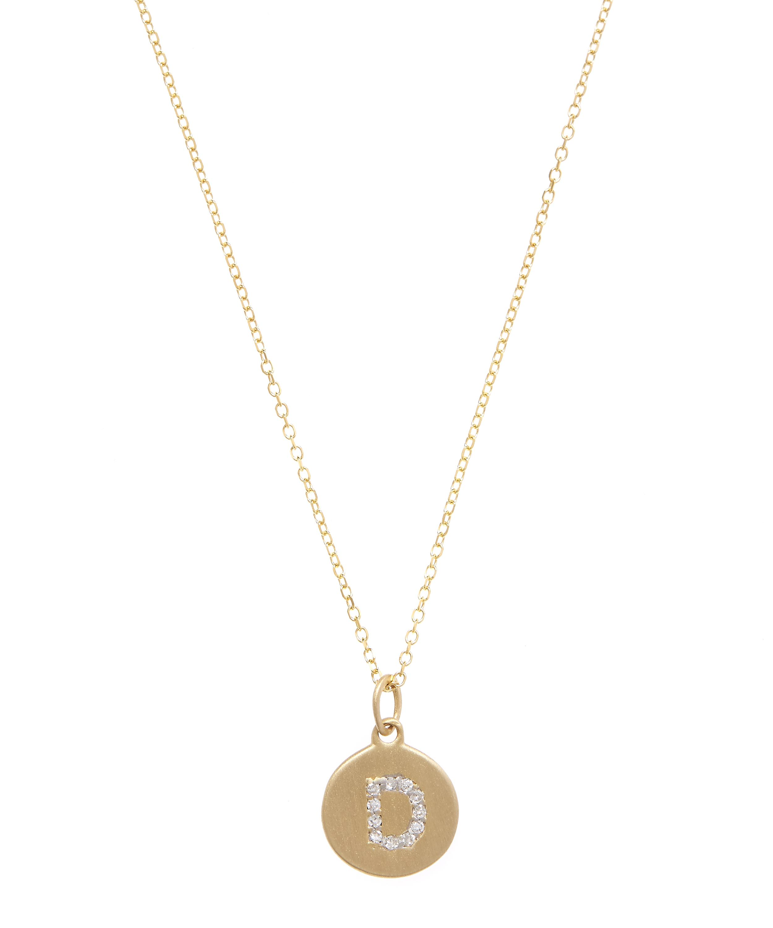 Gold and diamond letter d disc pendant necklace liberty london gold and diamond letter d disc pendant necklace aloadofball Image collections