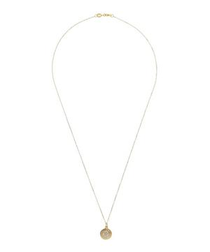 Gold Disc Diamond Letter G Necklace
