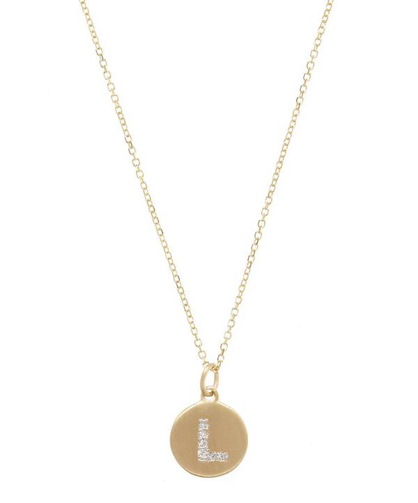 Gold and Diamond Letter L Disc Pendant Necklace