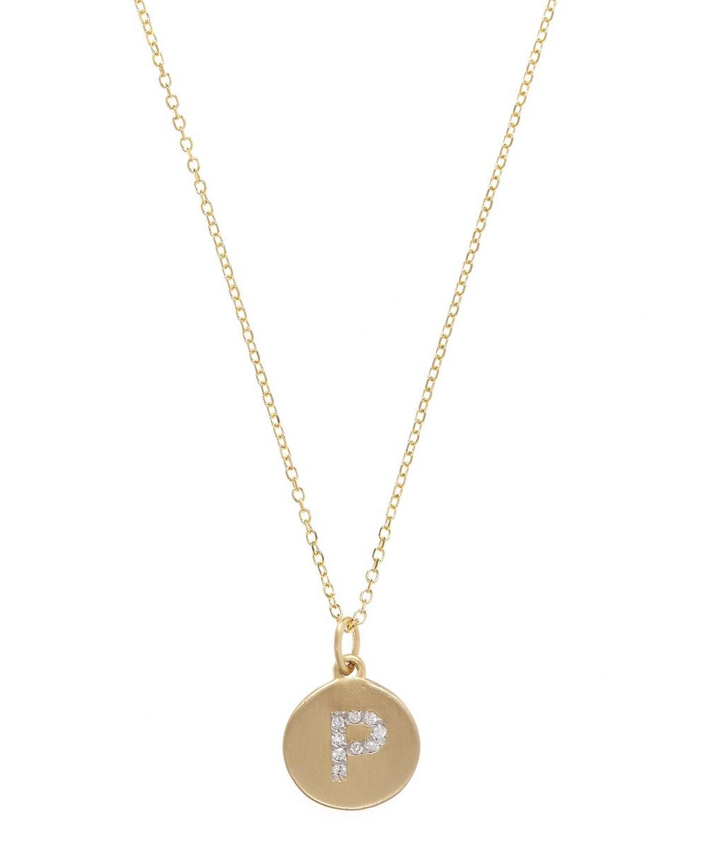 Gold and Diamond Letter P Disc Pendant Necklace
