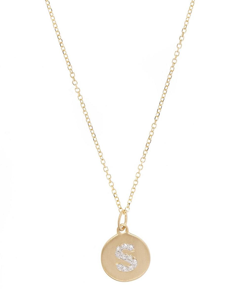 Gold And Diamond Letter S Disc Pendant Necklace