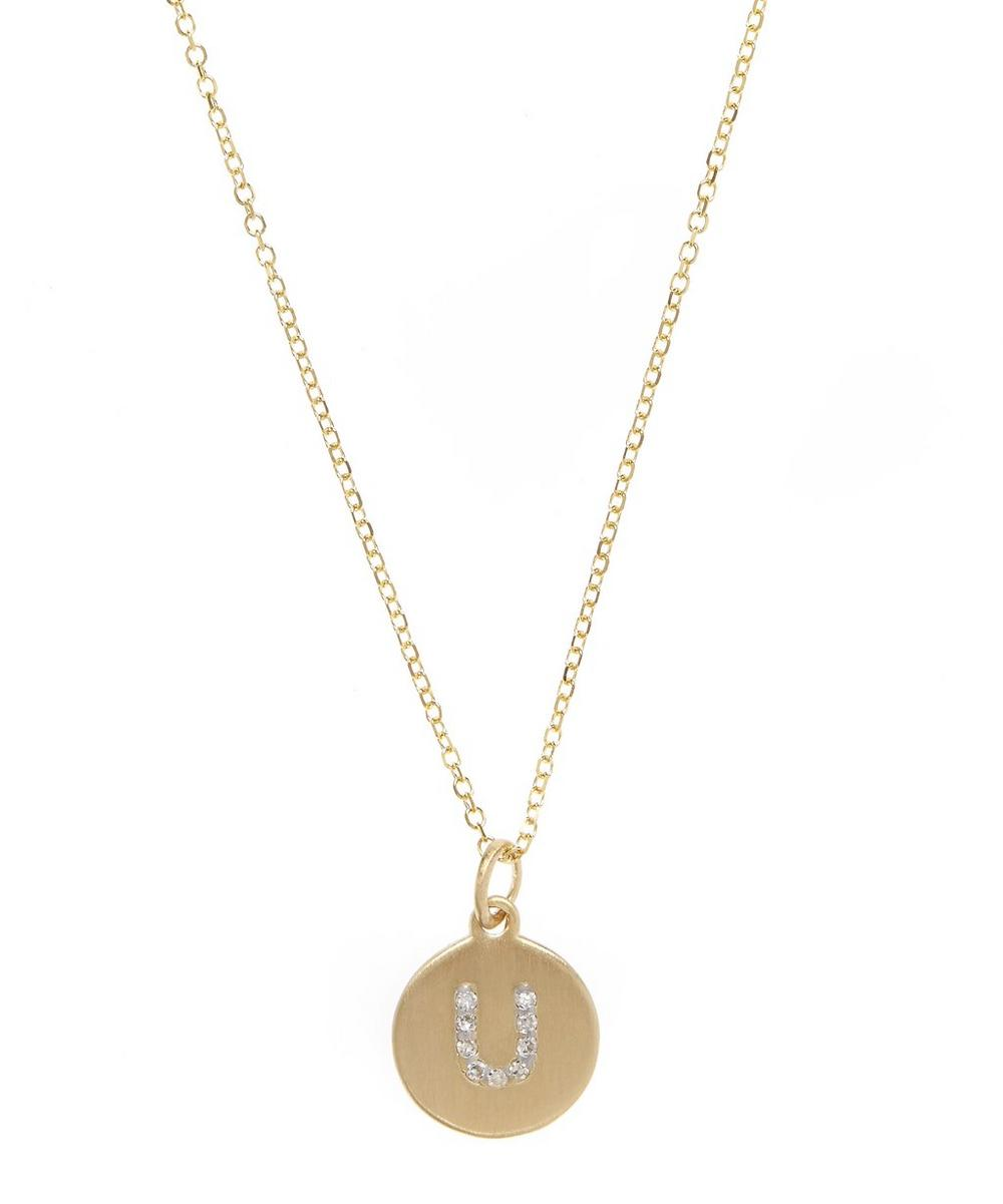 Gold and Diamond Letter U Disc Pendant Necklace
