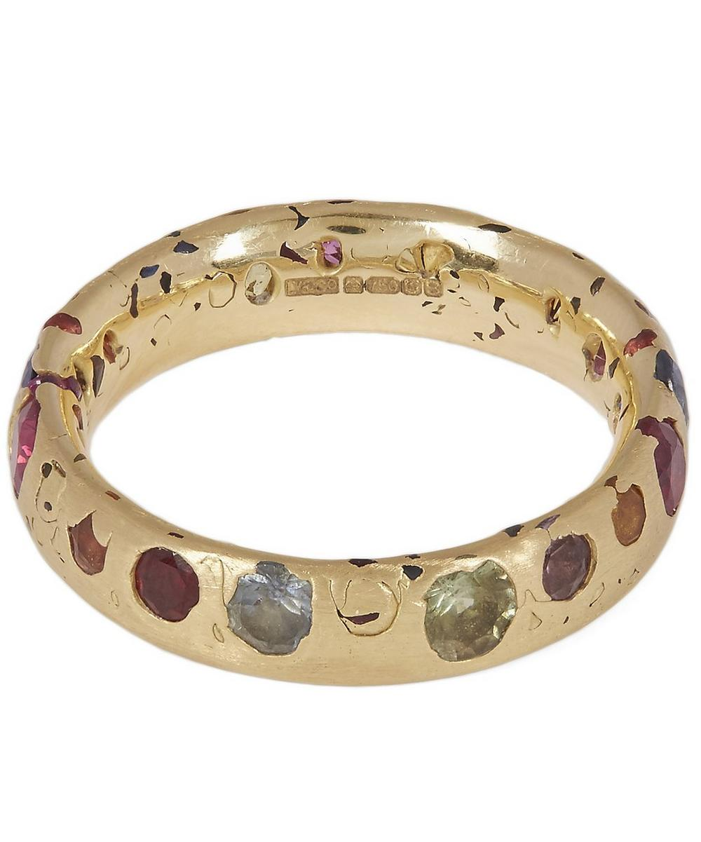 Gold Confetti Rainbow Sapphire Medium Ring