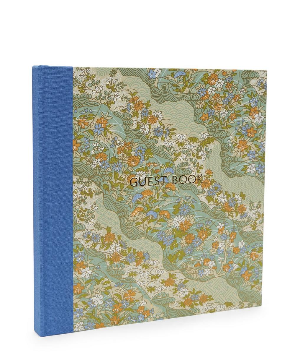 Blue and Orange Flowers Guest Book
