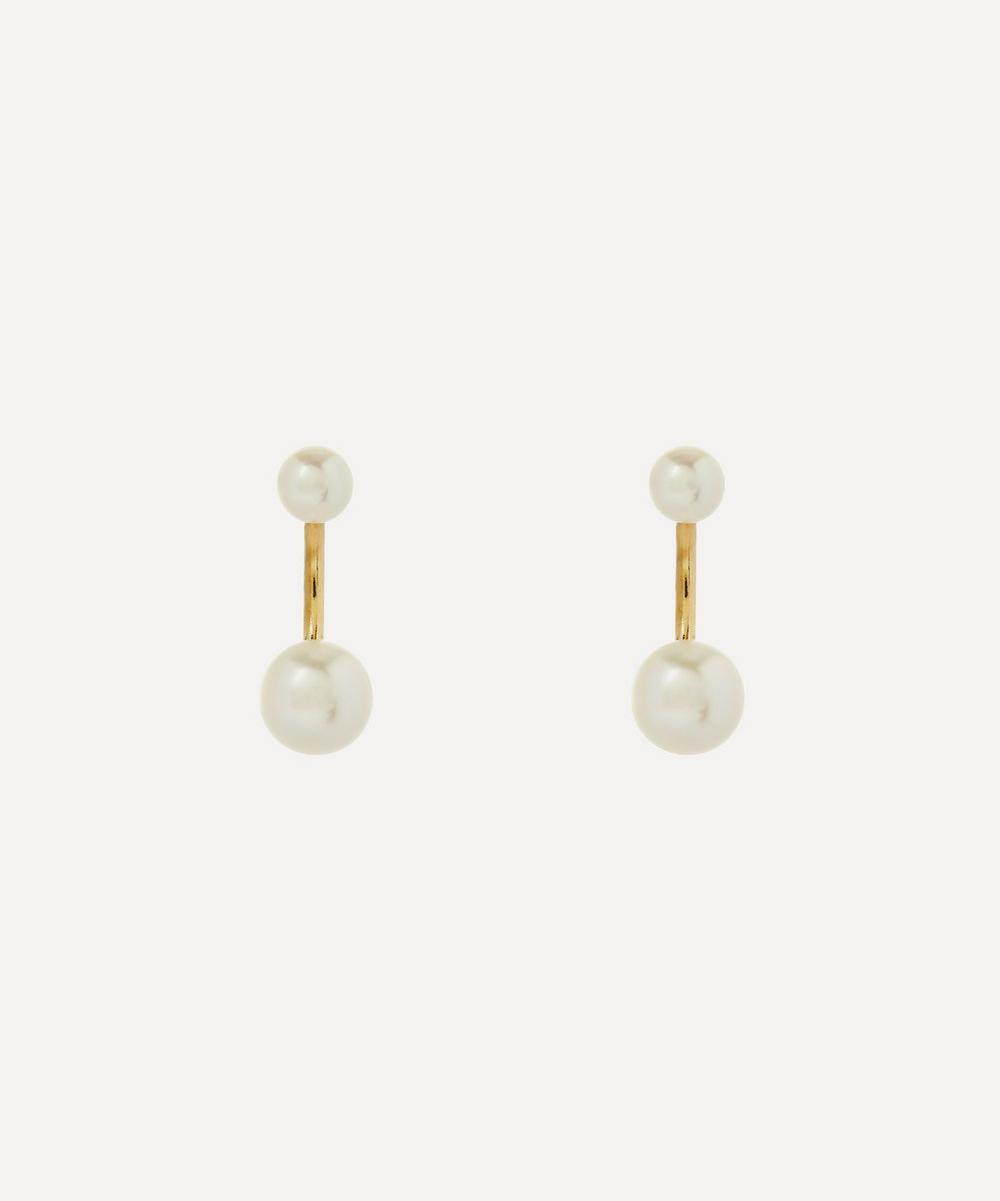 Satomi Kawakita - 14ct Gold Twin Pearl Stud Earrings