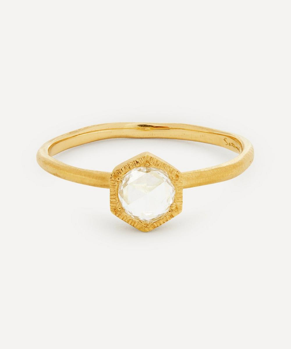 Satomi Kawakita - 18ct Gold Rose Cut Diamond Hexagon Solitaire Ring