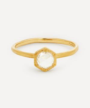 18ct Gold Rose Cut Diamond Hexagon Solitaire Ring