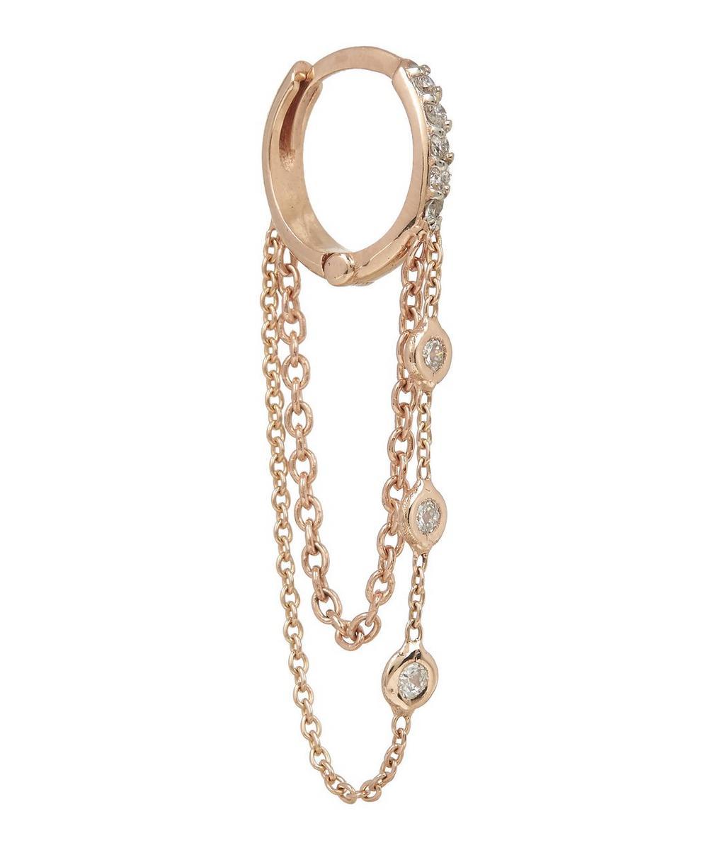 Rose Gold and White Diamond Chain Single Hoop Earring