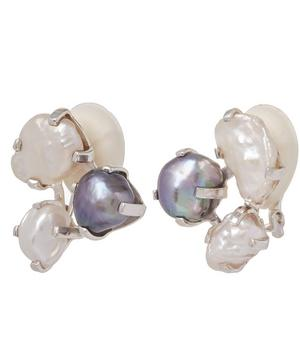 Baroque Pearl Cluster Clip-On Earrings