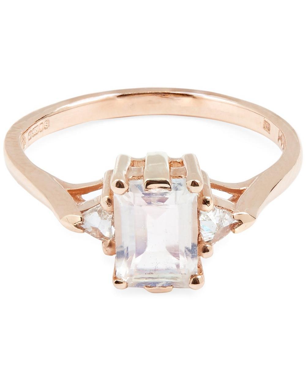 Rose Gold Bea Rainbow Moonstone Three Stone Ring