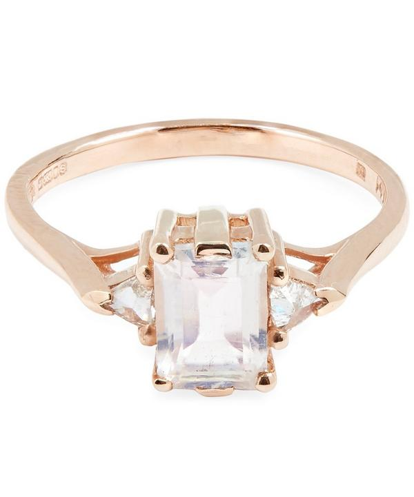 Rose Gold Bea Rainbow Moonstone Three Stone Ring