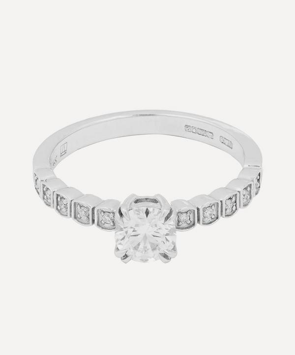 White Gold Tiny Wheat Diamond Engagement Ring