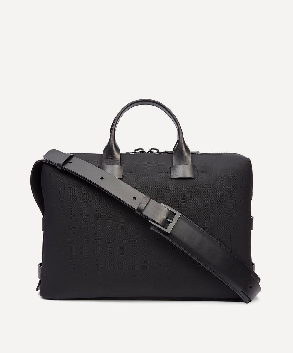 TROUBADOUR FABRIC AND LEATHER SLIM BRIEFCASE