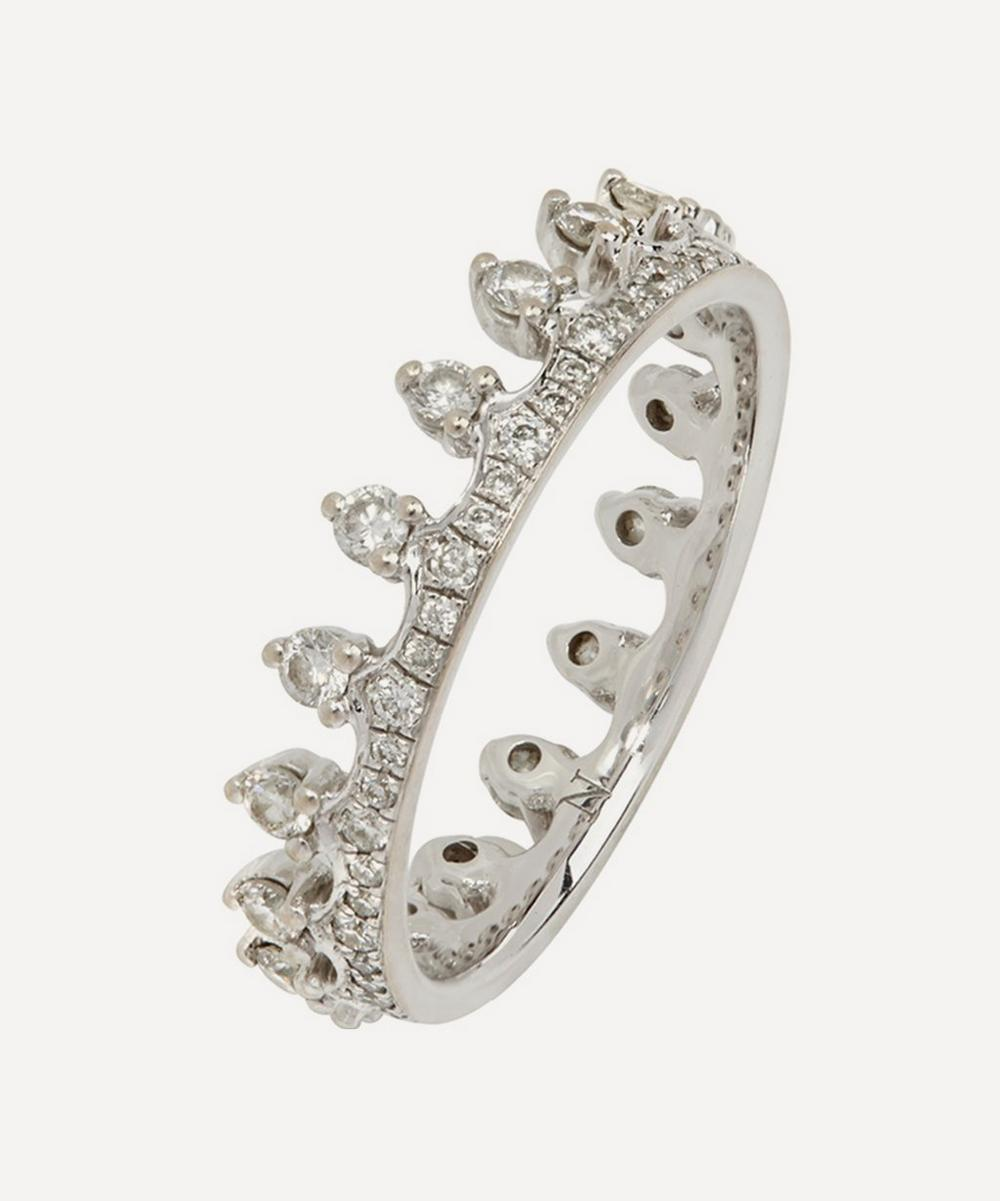 18ct White Gold Crown Diamond Ring