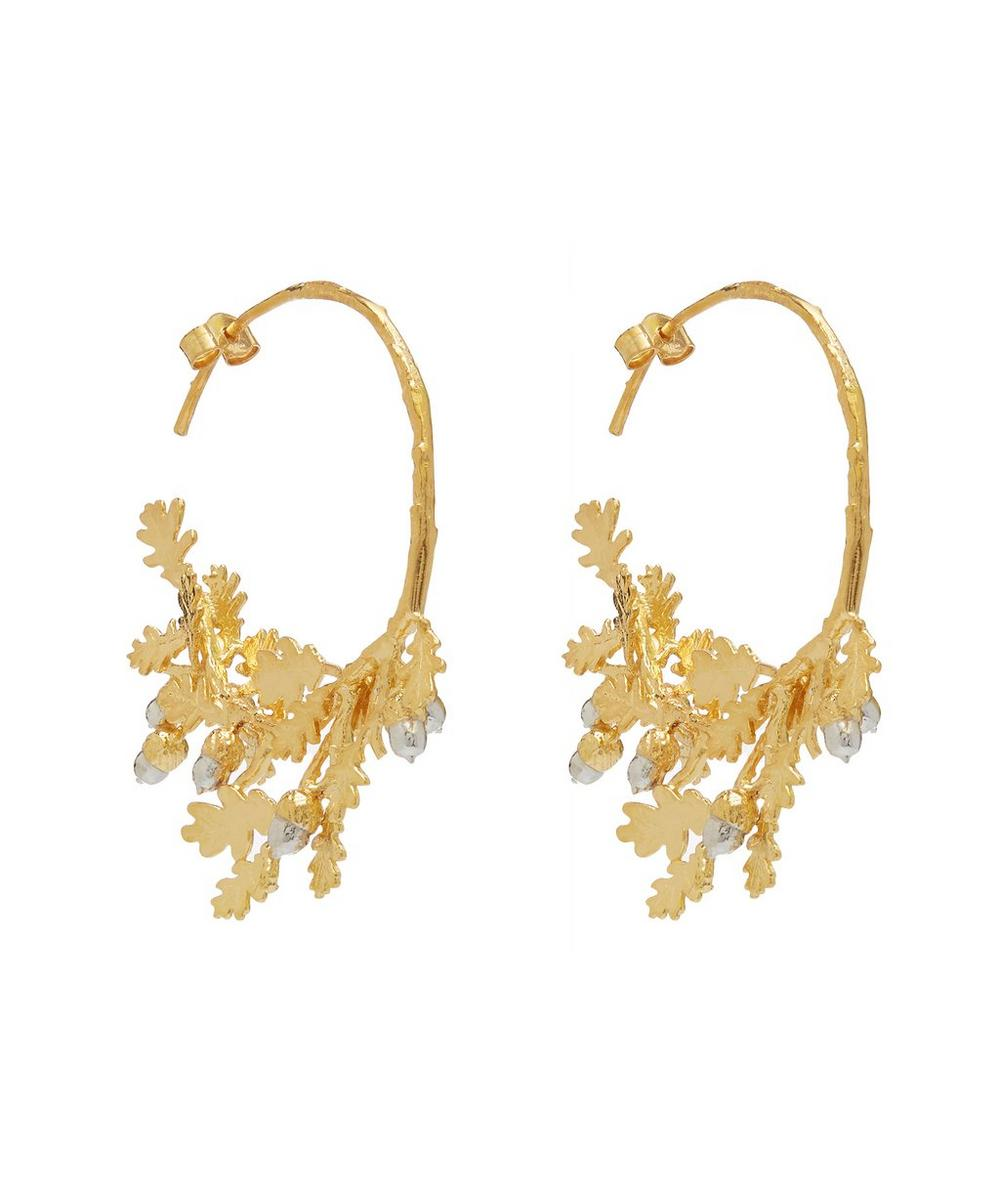 Silver and Gold-Plated Oak Leaf and Acorn Branch Hoops