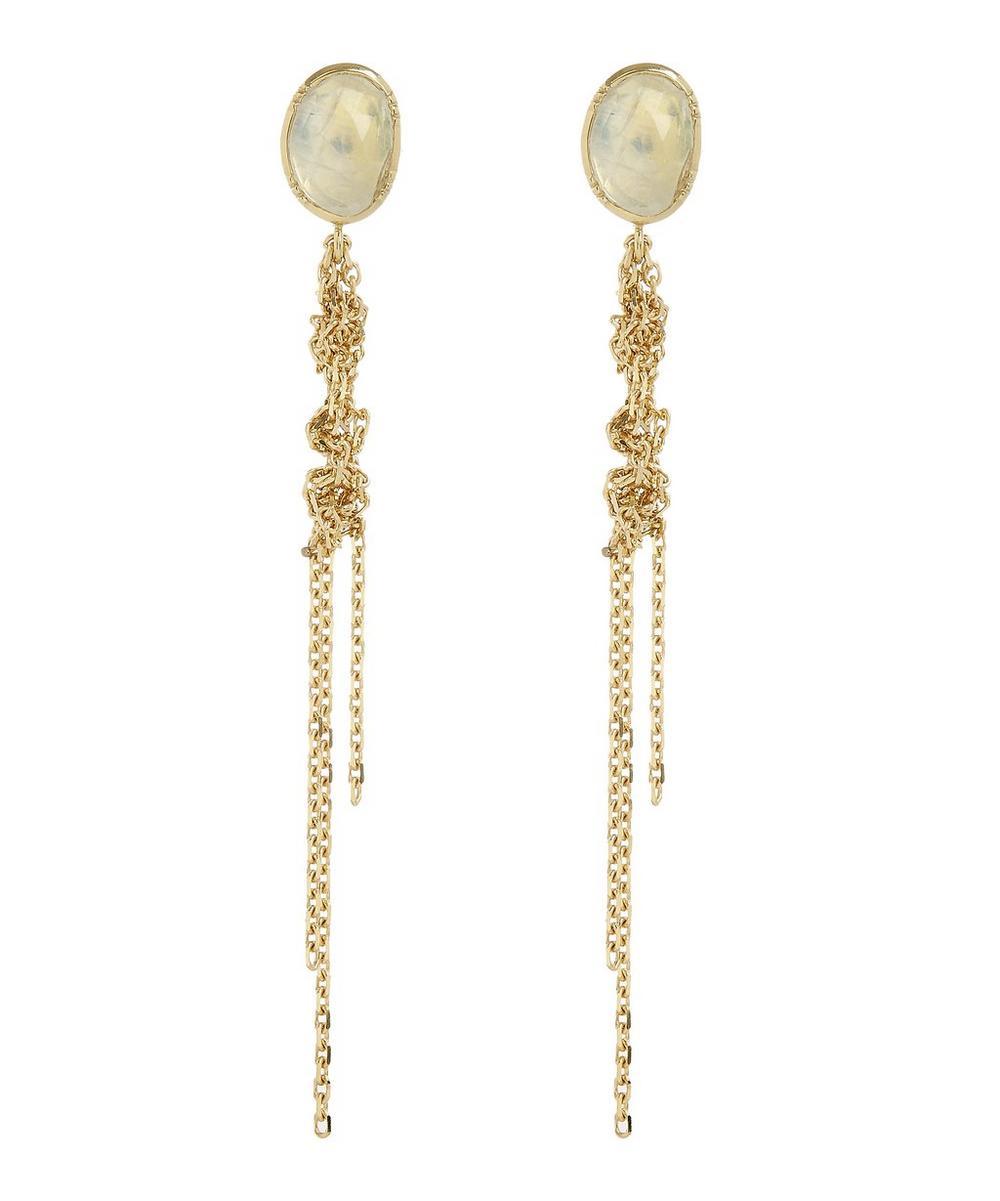 Gold Waterfall Moonstone Earrings
