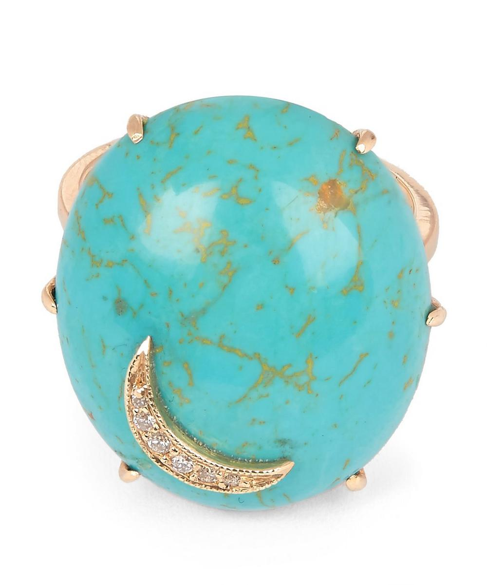 Gold Turquoise Oval Diamond Moon Ring
