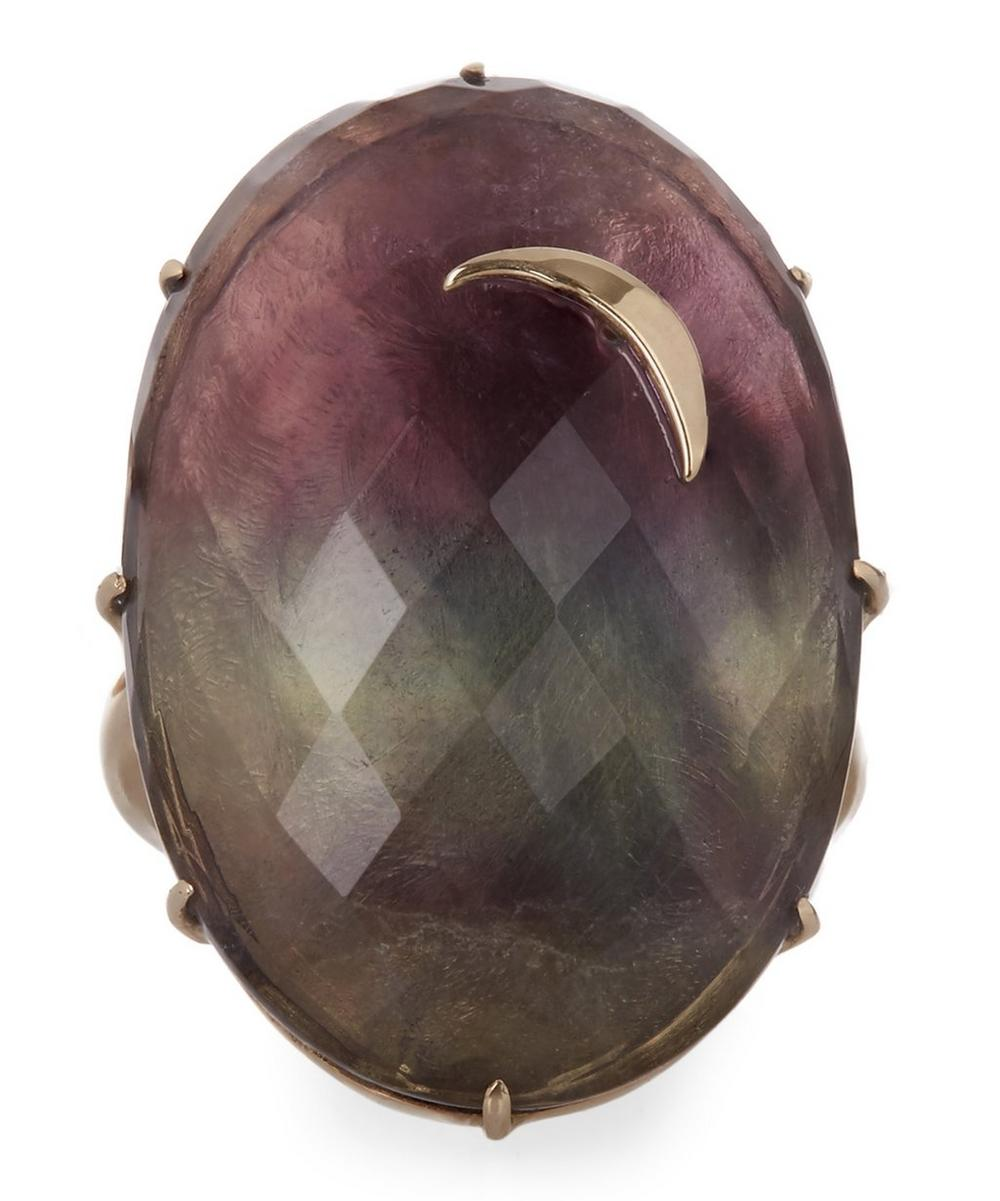 Gold Large Oval Rainbow Fluorite Crescent Moon Ring