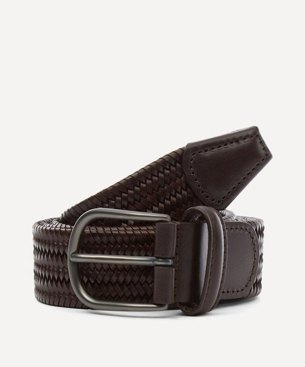 White and Purple Leather-Trimmed Woven Belt