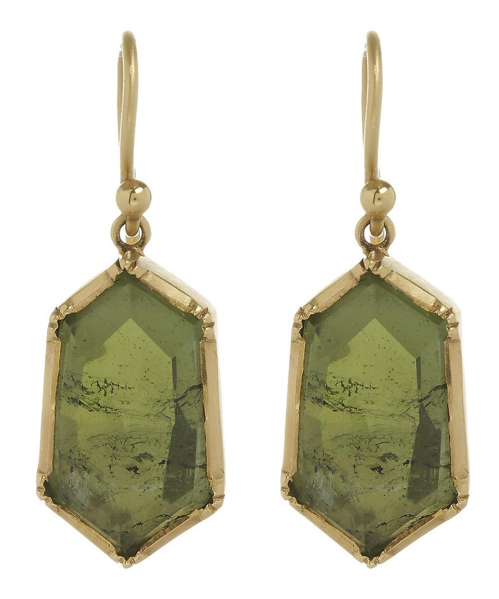 Gold and Green Tourmaline Hex Earrings