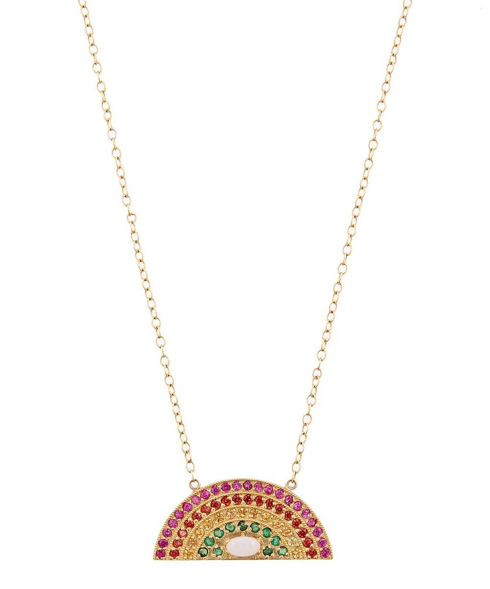 Medium Gold Rainbow Sapphire and Opal Necklace