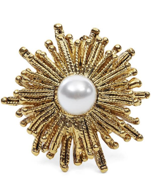 Glass Pearl Sunburst Ring