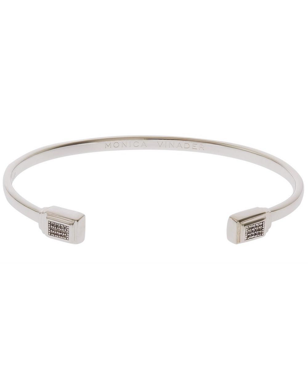 Silver Baja Deco Thin Diamond Cuff