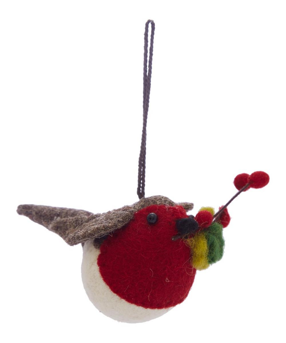 Robin With Holly Decoration