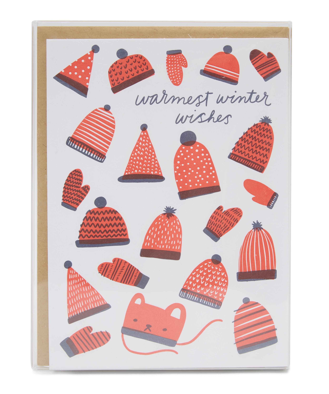 Letterpress Christmas Cards.Warm Hats Letterpress Christmas Cards