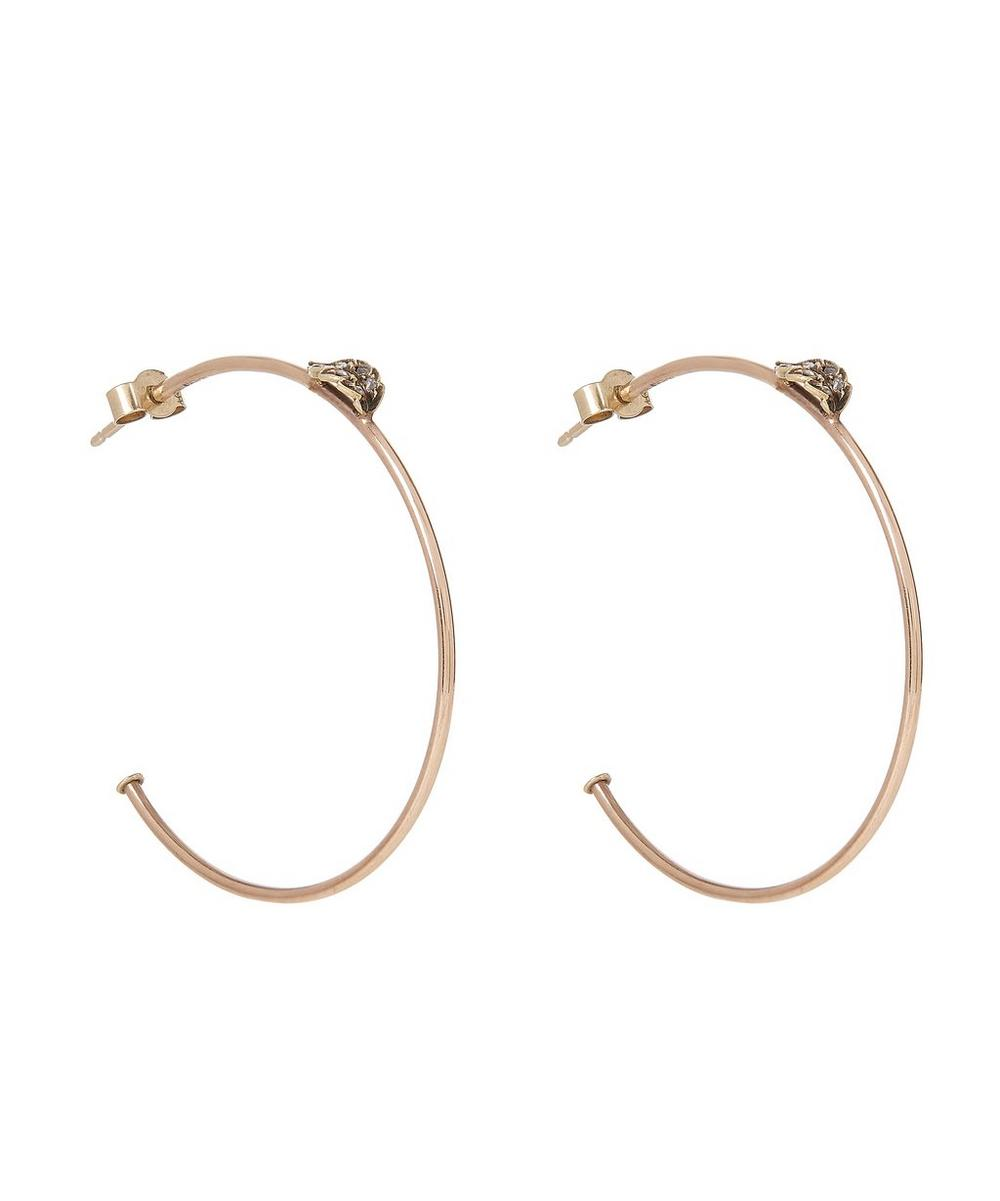 Rose Gold Vintage Diamond Leaf Hoop Earrings