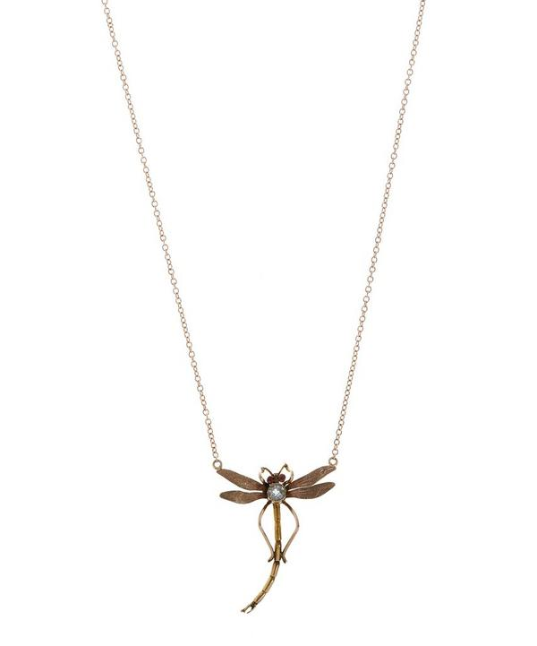 Rose Gold and Aqua Ruby Dragonfly Necklace