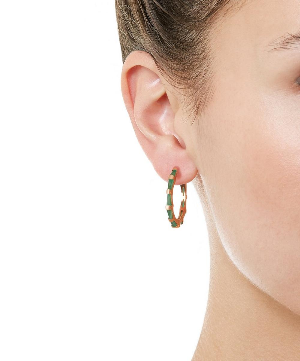 Rose Gold Emerald Hilvanado Stitch Small Hoop Earrings