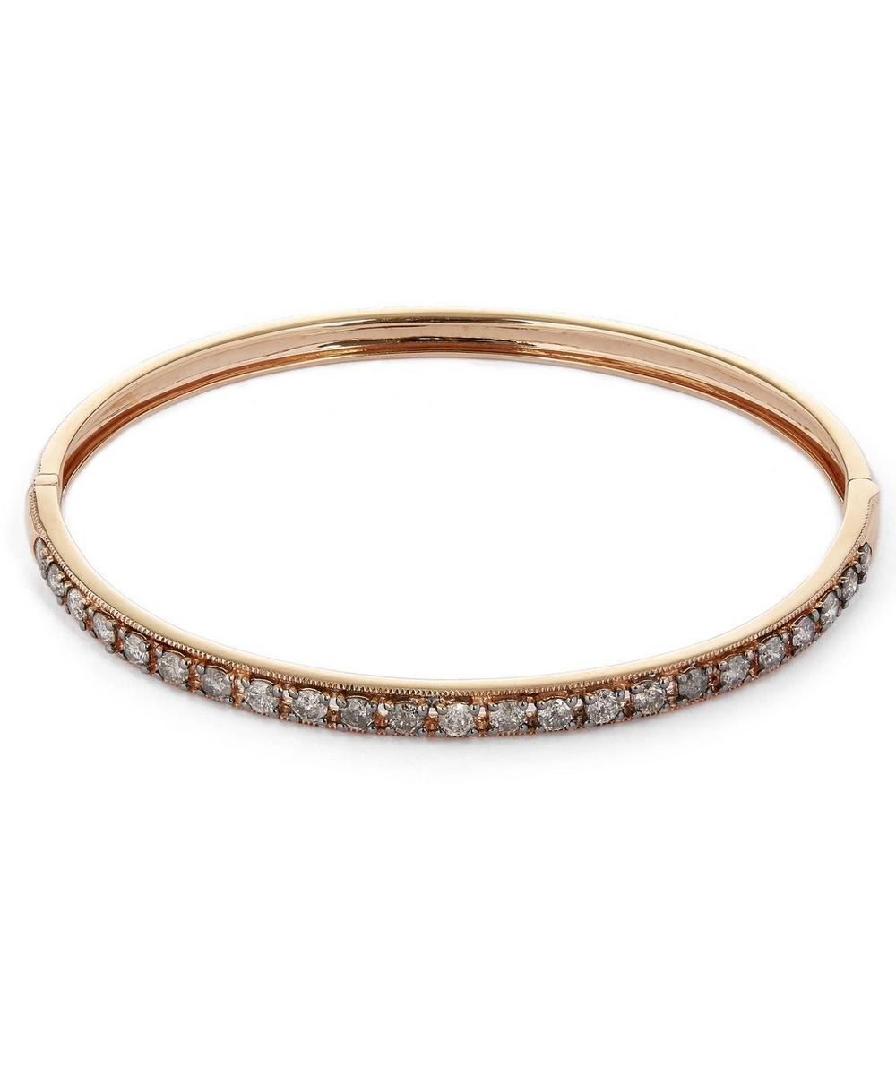18ct Rose Gold Dusty Diamonds Line Bangle