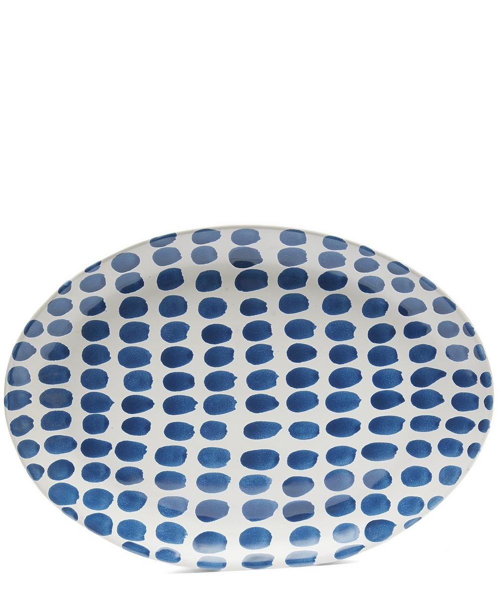 Blue Fresco Large Oval Dots Tray