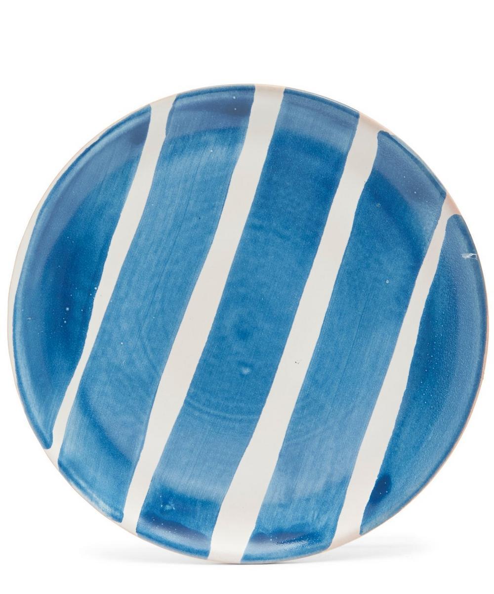 Blue Fresco Large Stripes Dessert Plate