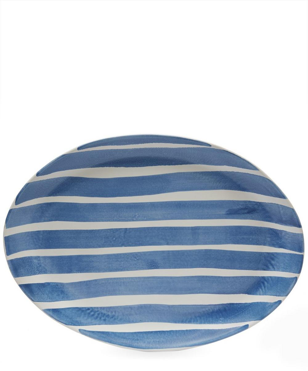 Small Oval Large Stripes Tray