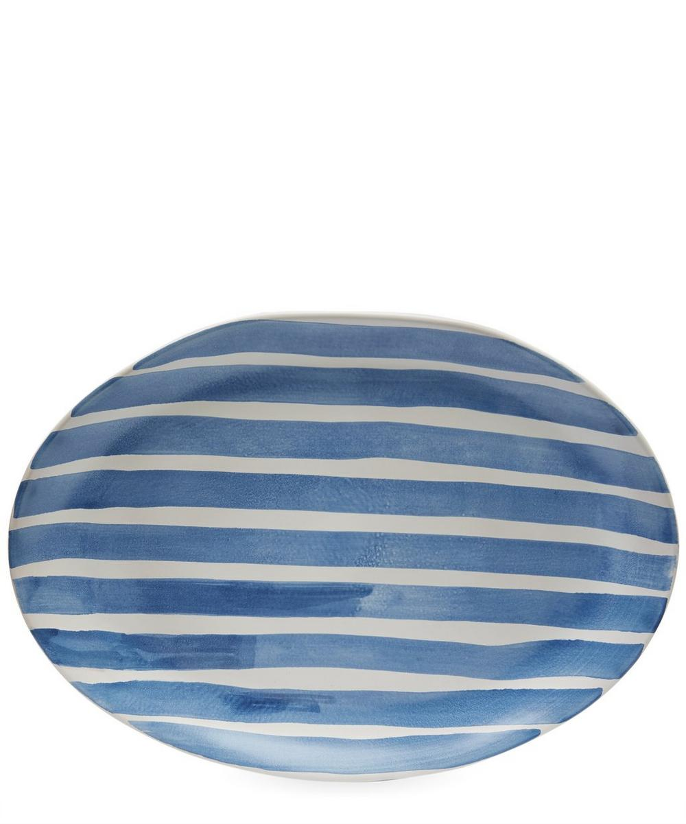 Large Oval Large Stripes Tray