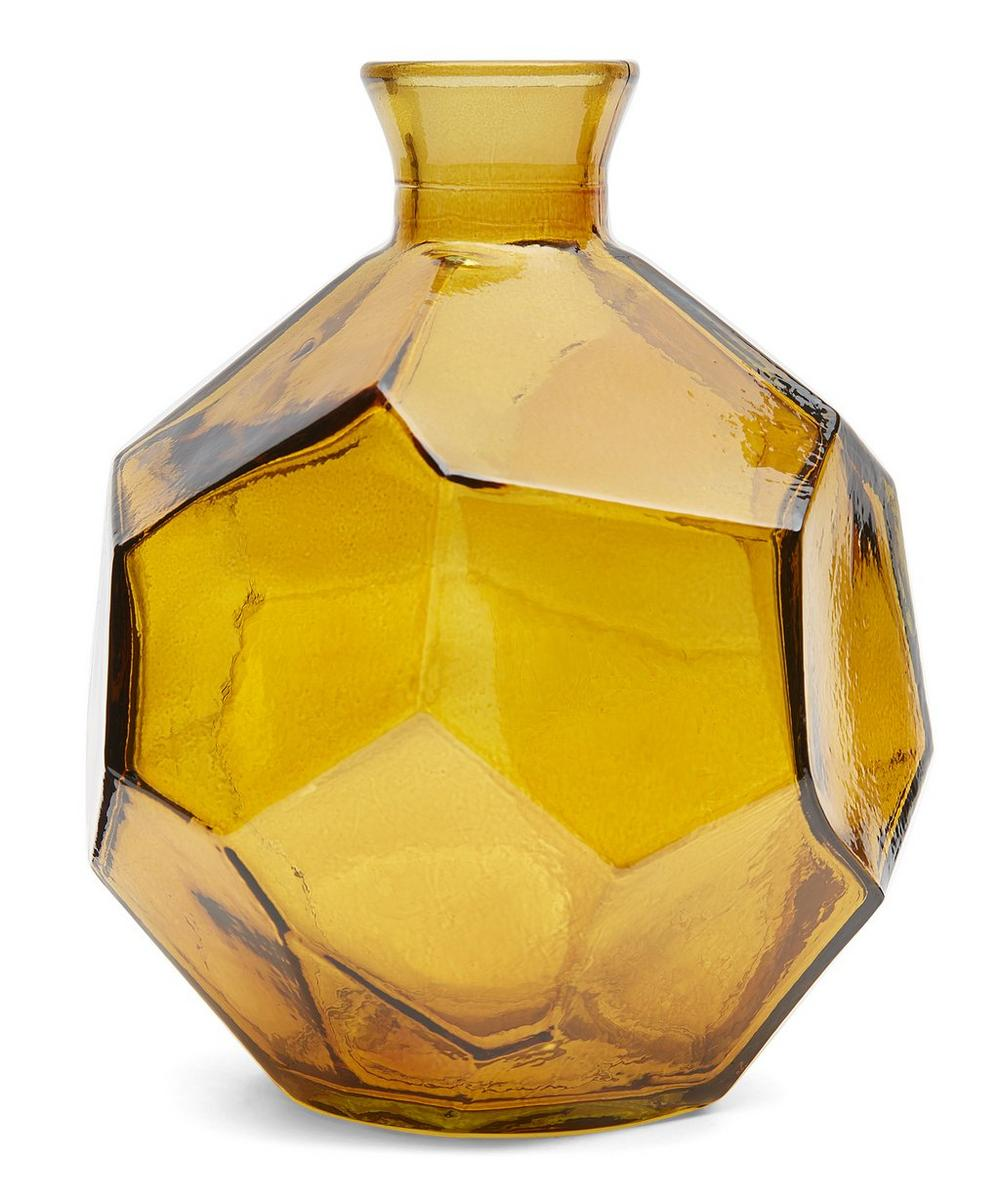 San Miguel Recycled Glass - Yellow Origami Vase 18cm
