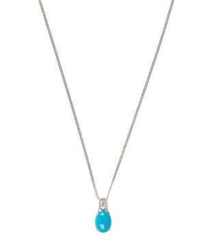 White Gold Turquoise and Diamond Pendant Necklace